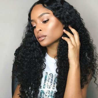 AfricanMall 3 Bundles Deep Weave Virgin Human Wavy Hair With 4*4 Lace Closure