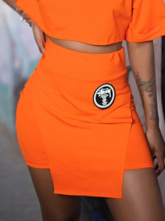 JurllyShe Casual Elastic Waist Skirt With Cool Iron On Patches