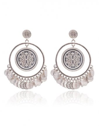 Ethnic Hollow Out Sequin Decorated Drop Stud