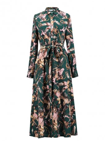 Long Sleeves Flower Printed Belted Midi Casual Women Dress