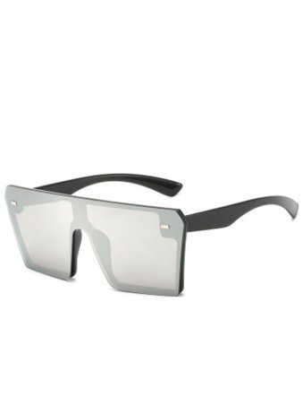 Fashion Rimless Flat Top Conjoined Sunglasses