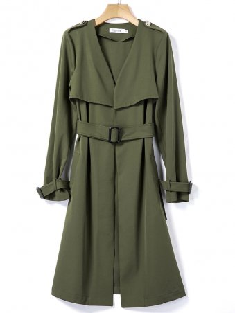 JurllyShe Army Green Full Sleeves Belted Trench Coat