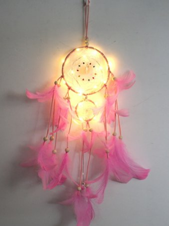 Feather Beads Dream Catcher Wall Hanging Lights Home Decor