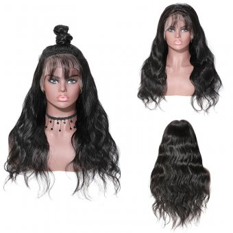 AfricanmMall 150% Density Long Body Wave Full Lace Front Human Hair Wig