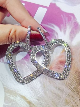 Gemmy Heart Shape Hoop Drop Earrings