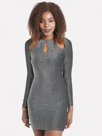 Cut out Detail Glitter Bodycon Dress