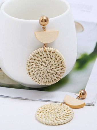 Handmade Wooden Straw Weave Rattan Boho Chic Drop Earrings
