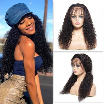 AfricanMall 150% Density 13*4 Lace Cap 100% Human Hair Jerry Curly Lace Frontal Wig