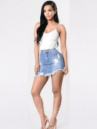 JullyShe Asymmetrical Ripped Detail Denim Mini Skirt