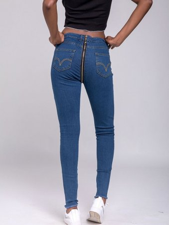 JurllyShe Back Zipper Denim Pencil Pants