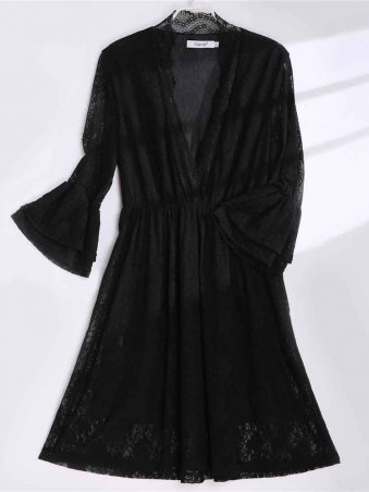 JurllyShe Black Deep V-neck Lace Dress