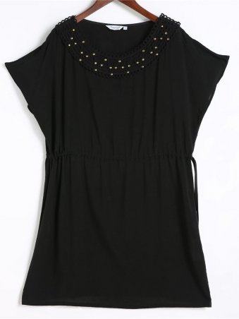 JurllyShe Black O-Neck Adjustable Waist Casual Dress