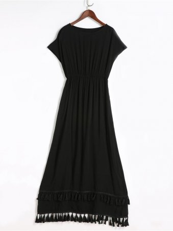 JurllyShe Black Tassel Elastic Waist Maxi Dress