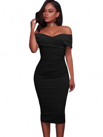 JurllyShe Cross Wrap Front Off Shoulder Bodycon Dress Off The Shoulder Dress