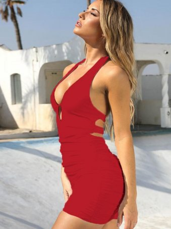 JurllyShe Cut Out Ruched Halter Bodycon Dress