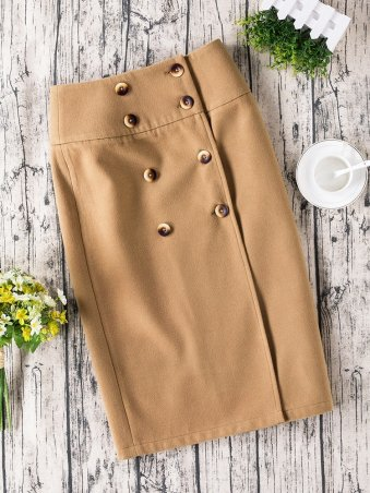 JurllyShe Double Breasted Solid High Waist Skirt