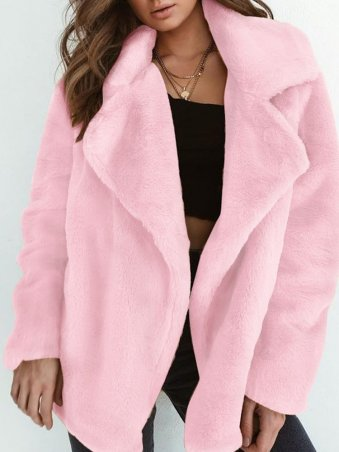 JurllyShe Faux Fur Open Placket Coat