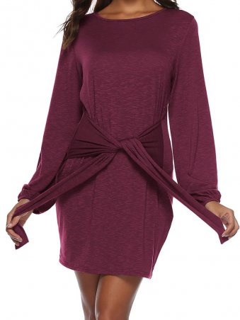 JurllyShe Front Tied Long Sleeve Dress