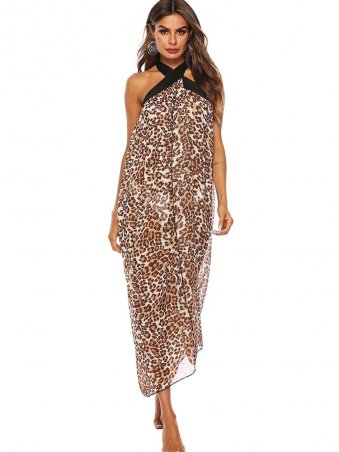 JurllyShe Laced Leopard Backless Cover Up
