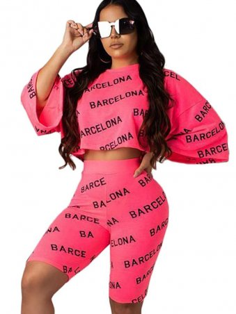 JurllyShe Letter Printed Crop Top With Shorts Two Piece Set