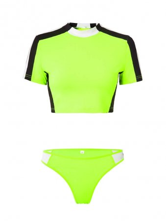JurllyShe Neon Color Spliced Casual Top With Brief Set