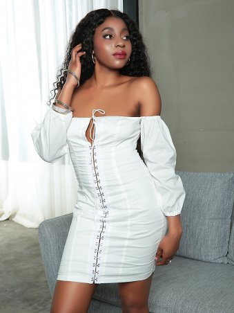 JurllyShe Off the Shoulder Bust Lace Up Mini Dress