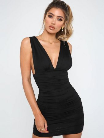 JurllyShe Plunging Neck Open Back Ruched Dress