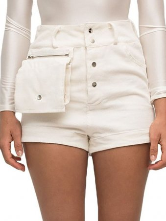 JurllyShe Pocket Front Button Up Utility Shorts