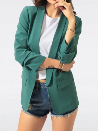JurllyShe Shawl Collar None Button Ruched Sleeve Blazers