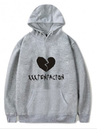 JurllyShe Slogan Kangaroo Pocket Hoodies-Gray