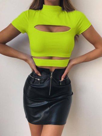 JurllyShe Solid Color High Neck Hollow Out Crop Tee