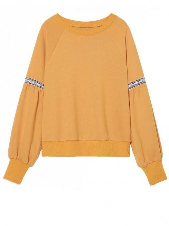 JurllyShe Spliced Lantern Sleeve Sweatshirt