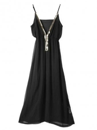 JurllyShe Strap Black V-neck Dress