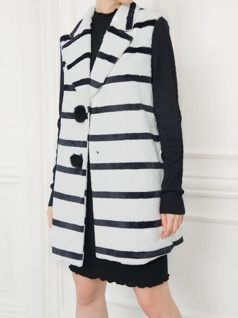JurllyShe Striped  Button up Coat
