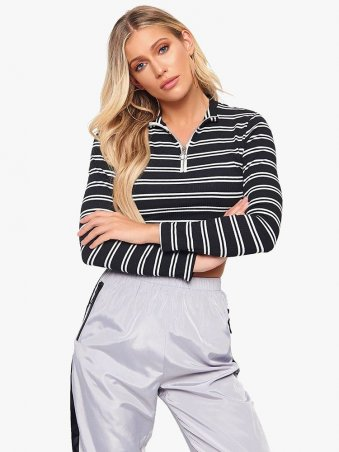 Striped Knit Zip Stand Collar Tee