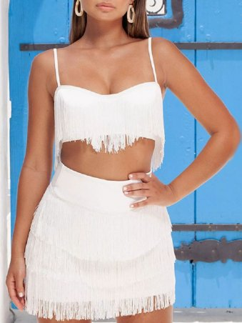 JurllyShe Tassel Embroidery Spaghetti Straps Top with Skirt Two Piece Sets