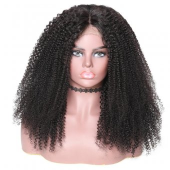 AfricanMall New Afro Kinky Curly Human Hair 360 Lace Wig