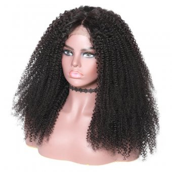 AfricanMall 180% Density New Afro Kinky Curly Human Hair 360 Lace Wig