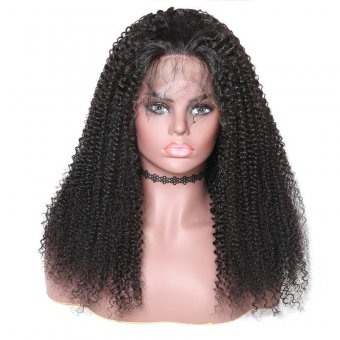 AfricanMall 150% Density Kinky Curly Lace Front Human Hair Wig With Bangs