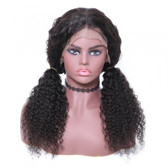AfricanMall Kinky Curly Long Human Hair Lace Front Wig For Women