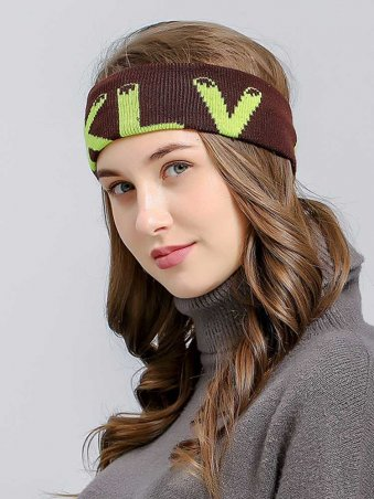 Knitted Letter Detail Sporty Turban Headband-Coffee