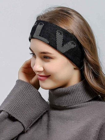 Knitted Letter Detail Sporty Turban Headband