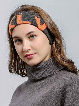 Knitted Letter Detail Sporty Turban Headband-Gray