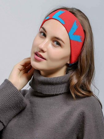 Knitted Letter Detail Sporty Turban Headband-Red