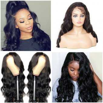 AfricanMall 150% Density 13*4 Lace Front Body Wave Human Hair Wig
