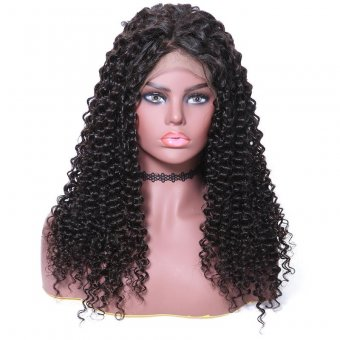 AfricanMall Human Hair Wigs 100%  Lace Front Jerry Curly Human Hair Wig