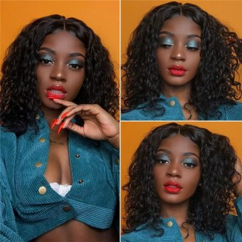 AfricanMall 180% Density Water Wave 13*4 Lace Frontal Short Human Hair Wigs