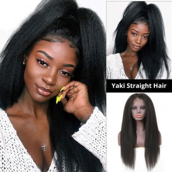 AfricanMall 150% Density Kinky Straight Unprocessed Human Hair 13*4 Lace Front Wig