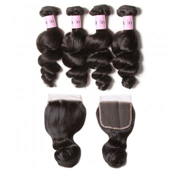 AfricanMall 4 Bundles Unprocessed Loose Wave Hair Human Hair Weave With 4*4 Lace Closure