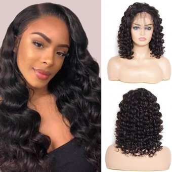 AfricanMall 150% Density Loose Wave Human Hair Wigs 13x4 Inch Lace Frontal Wig